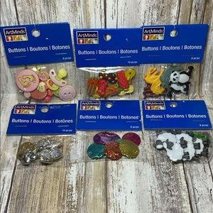 Buttons Bundle Craft Supplies Animals Hearts Baby